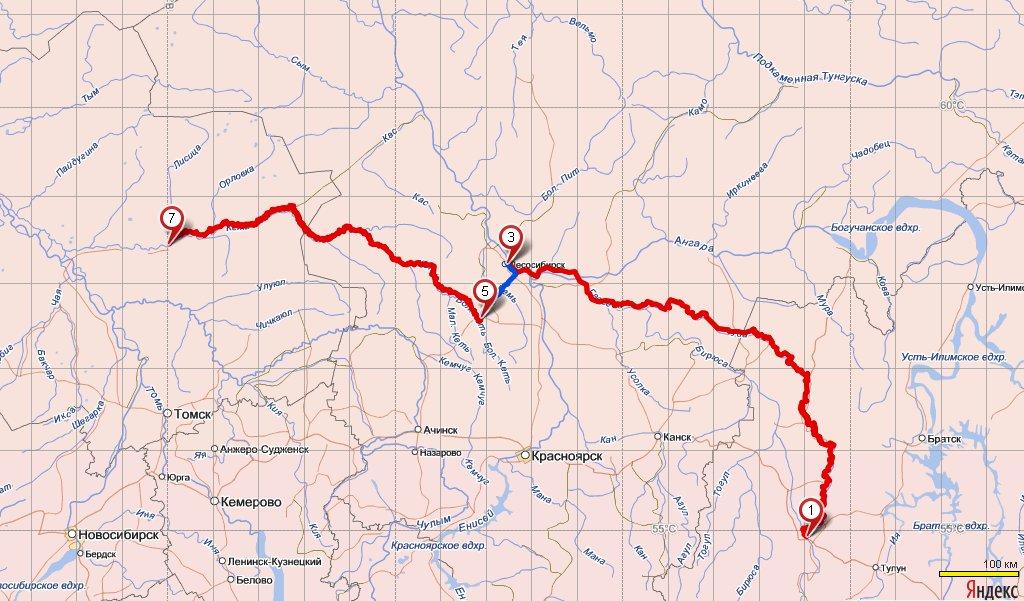Подробная карта маршрута на